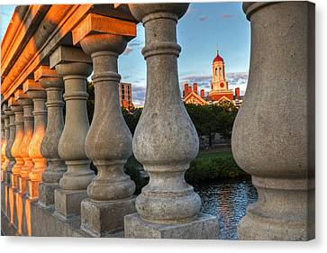 The Dunster House Through The John Weeks Bridge Harvard Square Canvas Print by Toby McGuire