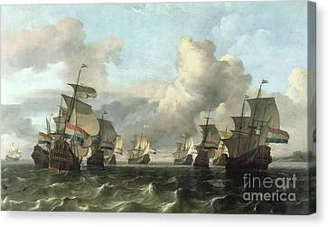 The Dutch Fleet Of The India Company Canvas Print by Ludolf Backhuysen