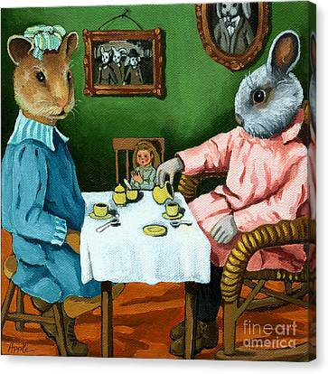 The Easter Tea Party Canvas Print by Linda Apple