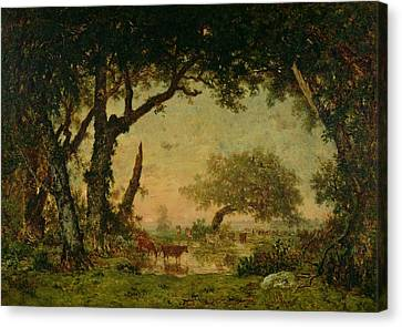 The Edge Of The Forest At Fontainebleau Canvas Print by Theodore Rousseau