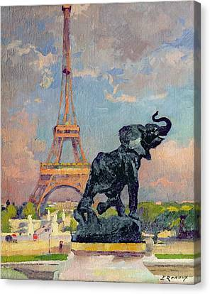 The Eiffel Tower And The Elephant By Fremiet Canvas Print by Jules Ernest Renoux