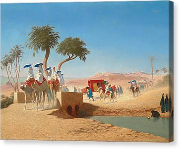 The Empress Eugenie Visiting The Pyramids Canvas Print by Charles Theodore Frere