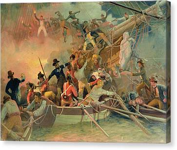 The English Navy Conquering A French Ship Near The Cape Camaro Canvas Print by English School