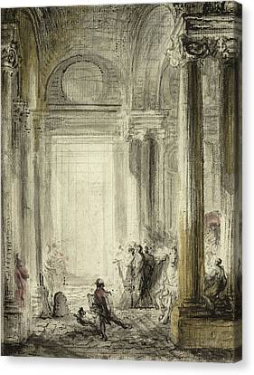 The Entrance Of The Academy Of Architecture At The Louvre Canvas Print by Gabriel de Saint-Aubin