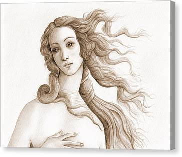 The Face Of A Goddess In Sepia Canvas Print by Stevie the floating artist