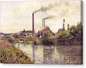 The Factory At Pontoise Canvas Print by Camille Pissarro