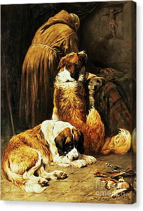 The Faith Of Saint Bernard Canvas Print by John Emms