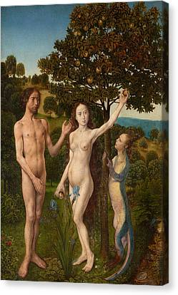 The Fall Of Man And The Lamentation Canvas Print by Hugo van der Goes
