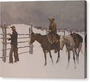 The Fall Of The Cowboy Canvas Print by Frederic Remington