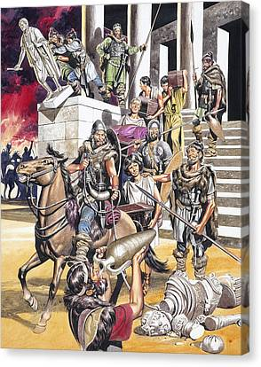 The Fall Of The Roman Empire In The West Canvas Print by Ron Embleton