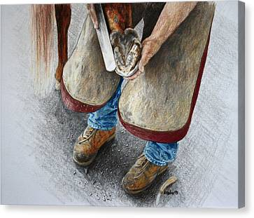 The Farrier Canvas Print by Kathy Roberts