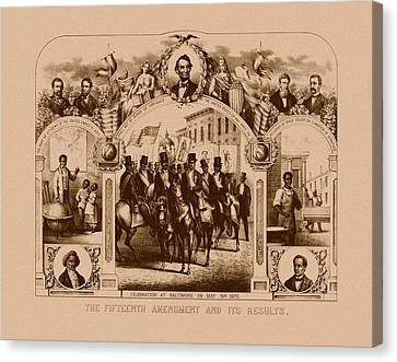 The Fifteenth Amendment And Its Results Canvas Print by War Is Hell Store