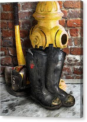 The Fireman Canvas Print by Bill Fleming