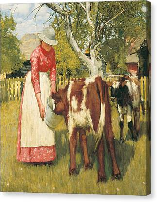 The First Meal Canvas Print by Henry Herbert La Thangue