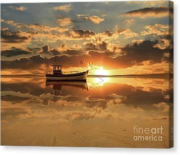 The Fishing Boat At Sunset Canvas Print by Monika Juengling