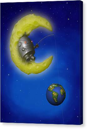 The Fishing Moon Canvas Print by Michael Knight