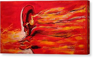 The Flash Comic Book Superhero Character Flash Gordon Lightning In Red Yellow Acrylic Cotton Canvas  Canvas Print by M Zimmerman MendyZ