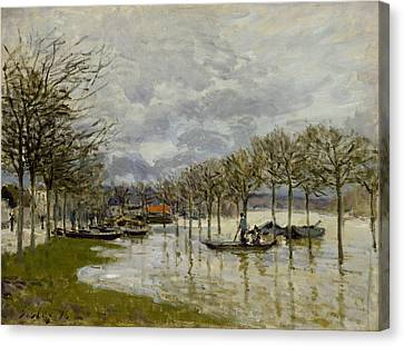 The Flood On The Road To Saint Germain Canvas Print by Alfred Sisley