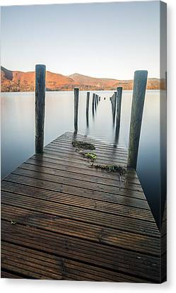 The Flooded Jetty - Derwentwater. Canvas Print by Daniel Kay
