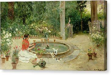 The Flower Garden Canvas Print by Richardo Brugada y Panizo