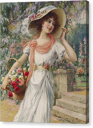 The Flower Girl Canvas Print by Emile Vernon