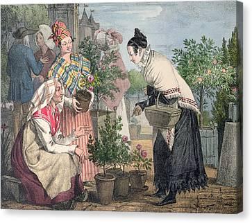 The Flower Market Canvas Print by John James Chalon
