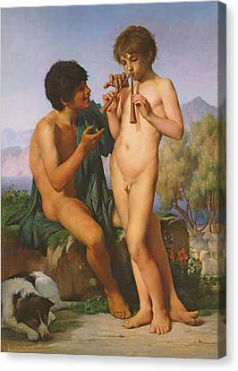 The Flute Lesson Canvas Print by Jules Elie Delaunay