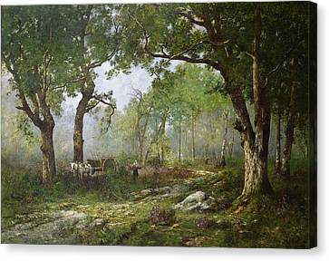 The Forest Of Fontainebleau Canvas Print by Leon Richet
