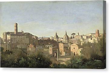 The Forum Seen From The Farnese Gardens Canvas Print by Jean Baptiste Camille Corot