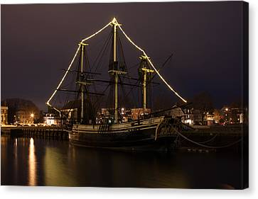 The Friendship At Christmas On Derby Wharf Canvas Print by Jeff Folger