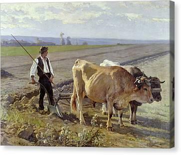 The Furrow Canvas Print by Edouard Debat-Ponsan
