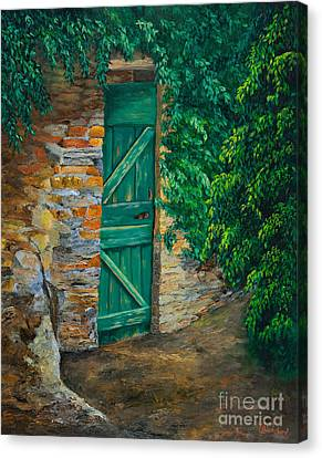 The Garden Gate In Cinque Terre Canvas Print by Charlotte Blanchard