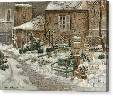 The Garden Under Snow Canvas Print by Eugene Chigot