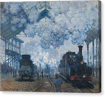 The Gare Saint-lazare Arrival Of A Train 1877 Canvas Print by Claude Monet