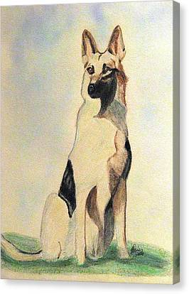 The German Shepherd Friend For Life Canvas Print by Angela Davies