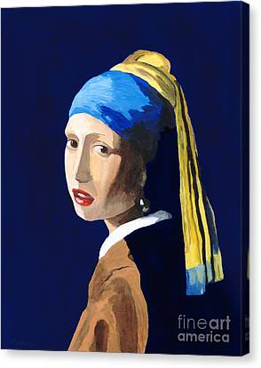 Canvas Print featuring the painting The Girl With A Pearl Earring After Vermeer by Rodney Campbell
