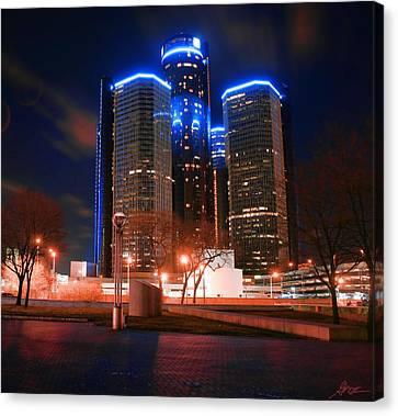 The Gm Renaissance Center At Night From Hart Plaza Detroit Michigan Canvas Print by Gordon Dean II