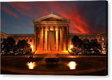 The Golden Columns - Philadelphia Museum Of Art - Sunset Canvas Print by Lee Dos Santos