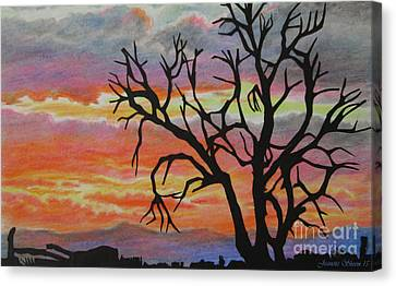 The Golden Hour Silhouette  Canvas Print by Jeanette Skeem