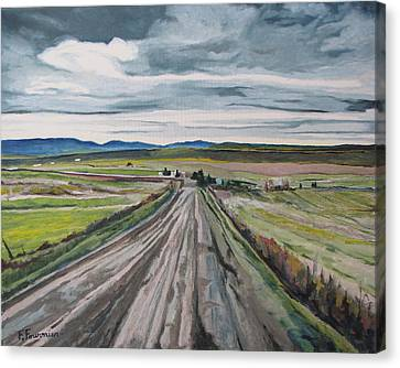 The Gravel Road Lapatrie Quebec Canada Canvas Print by Francois Fournier