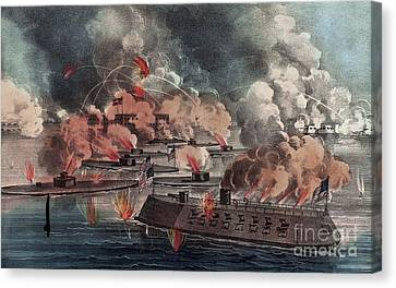 The Great Fight At Charleston  South Carolina Canvas Print by American School