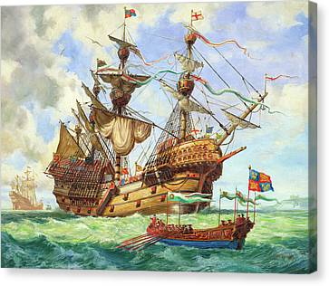 The Great Harry, Flagship Of King Henry's Fleet Canvas Print by CL Doughty
