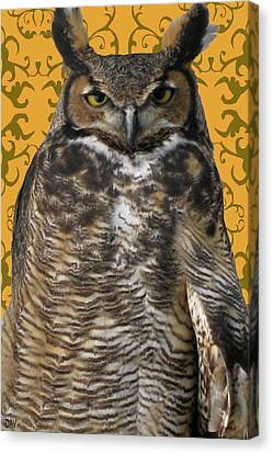The Great Hored Owl Canvas Print by Debra     Vatalaro