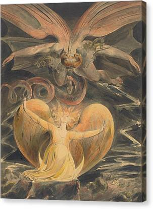 The Great Red Dragon And The Woman Clothed With The Sun Canvas Print by William Blake