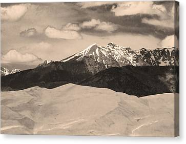 The Great Sand Dunes And Sangre De Cristo Mountains - Sepia Canvas Print by James BO  Insogna