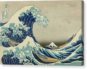 The Great Wave Off Kanagawa - Hokusai  Canvas Print by War Is Hell Store