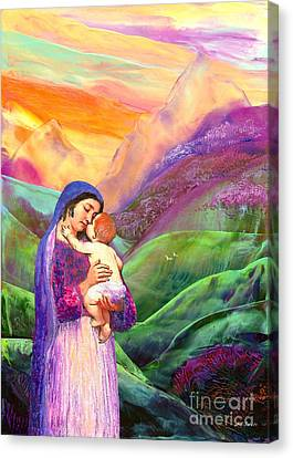 Virgin Mary And Baby Jesus, The Greatest Gift Canvas Print by Jane Small