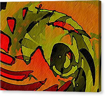 Canvas Print featuring the digital art The Green Iguana by Terry Mulligan