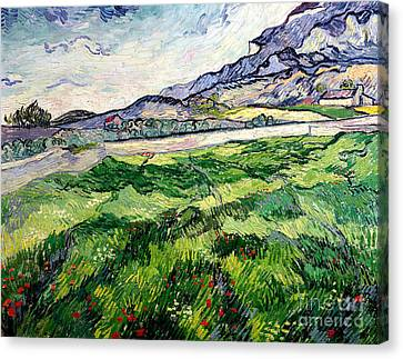 The Green Wheatfield Behind The Asylum Canvas Print by Vincent van Gogh
