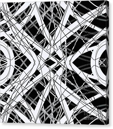 The Grid Black And White Abstract Design Canvas Print by Edward Fielding